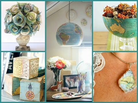 Best DIY Recycled Map Crafts - DIY Globe Decor Ideas – Recycled Home Decor