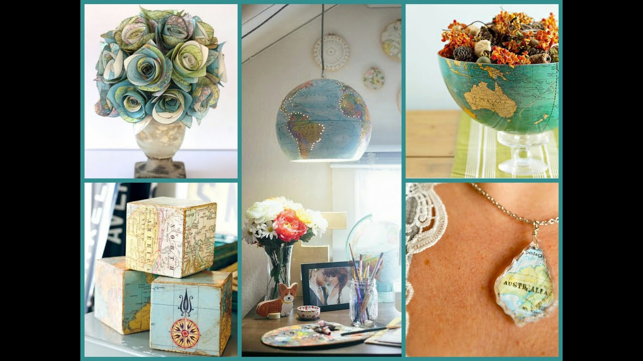 Best DIY Recycled Map Crafts DIY Globe Decor Ideas Recycled