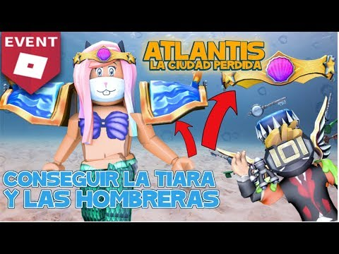 Tutorial Roblox Tiara y Hombreras Atlantis roblox en español en Disaster Island evento roblox 2018