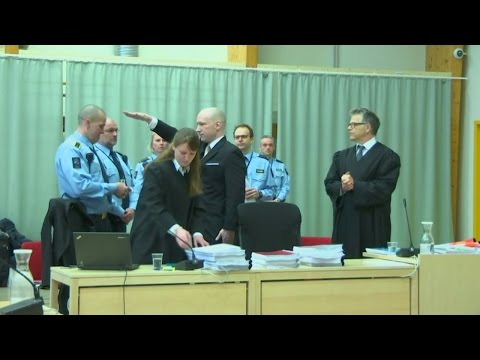 Norway mass killer makes Nazi salute in court