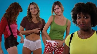 Repeat youtube video Girls Try on Guys' Sexy Underwear For The First Time
