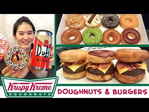 KRISPY KREME Doughnuts & Doughnut Beef Burgers | Mukbang | Eating Show