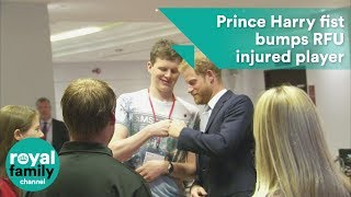 Prince Harry fist bumps RFU injured player at annual 'Client Forum'