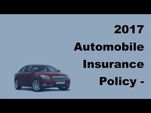 2017 Automobile Insurance Policy | Canadian Car Insurance