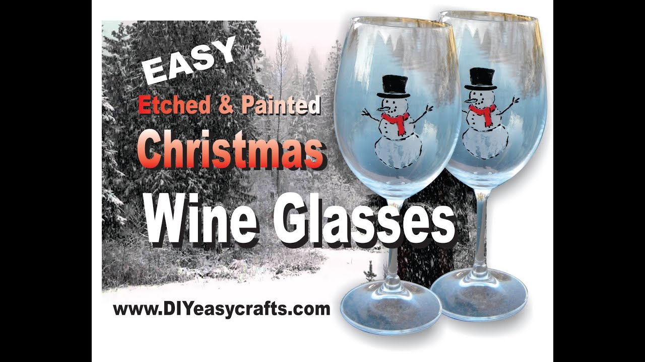 Custom Etched And Painted Glass Christmas Wine Glasses   YouTube