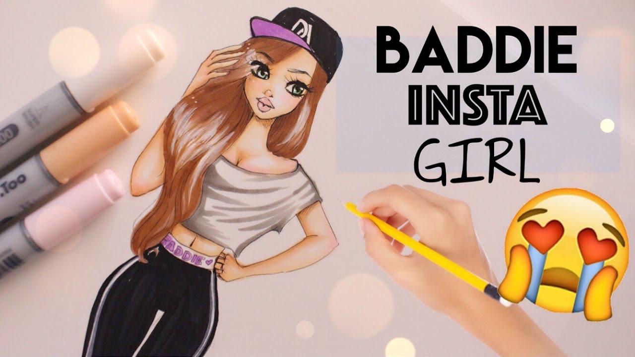 How To Draw Baddie Insta Girl Youtube
