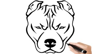 Very Easy ! How to draw cartoon American Pitbull step by step