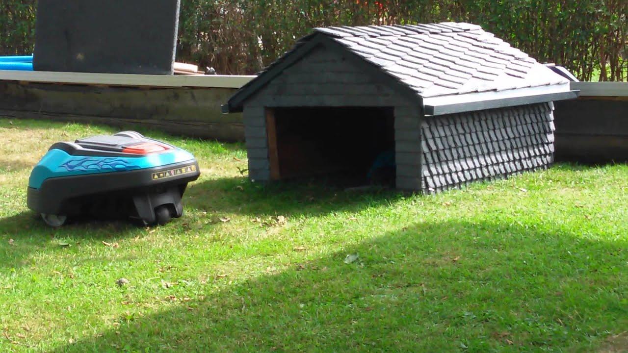 Mhroboter Garage aus Schiefer Gardena R70Li Lawn Mower ...
