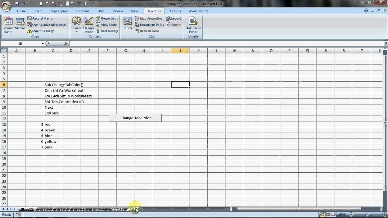 How Change Worksheet Tab Color In Excel With Vba