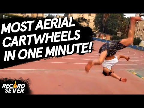 Most Aerial Cartwheels In One Minute (World Record!)