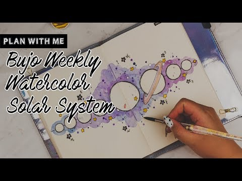 Plan With Me   Bujo Weekly - Watercolor Solar System