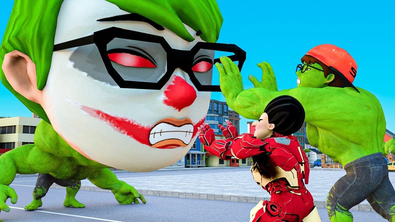 Scary Teacher 3D Superheroes Rubber Man NickHulk Joker vs Zombie Troll MissT Animation