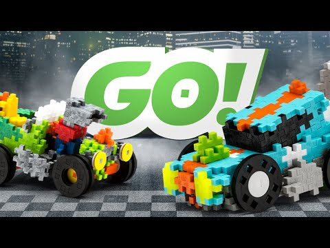 Plus-Plus GO! - Hot Rod, Crazy Cart, Fire Fighter and Street Racing Super Set - with new wheels!