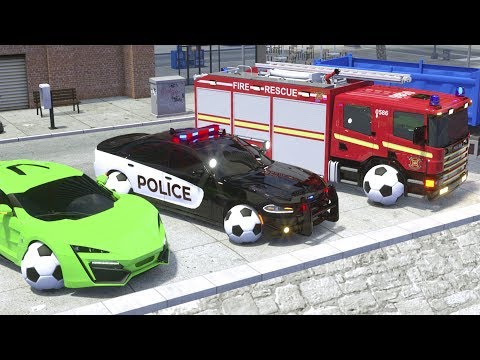Frank the Fire Truck, Sergeant Lucas the Police Car driving through Water - Wheel City Heroes (WCH)