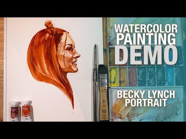 Demo Aquarelle   Becky Lynch Portrait
