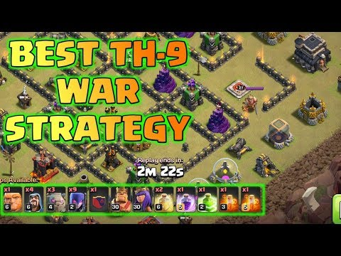 BEST TH9 WAR ATTACK STRATEGY, CLASH OF CLANS