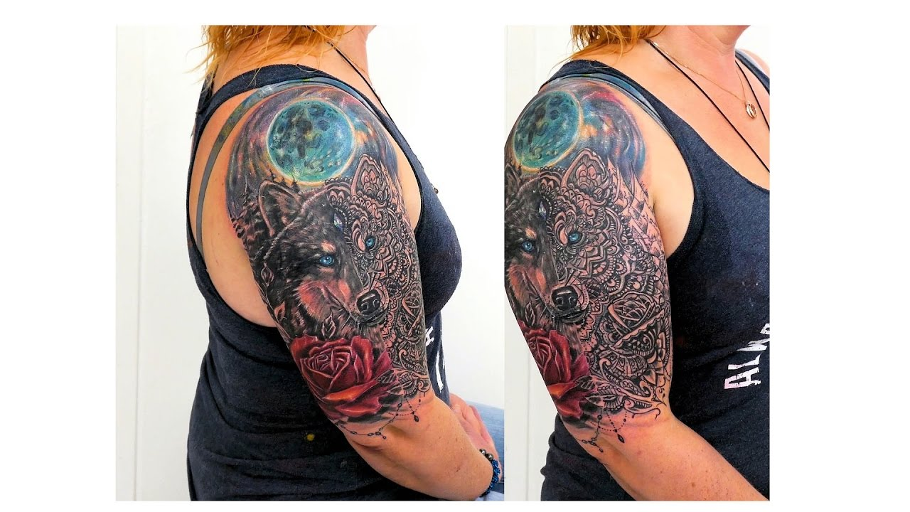 7891b3a3f Realistic Moon Rose Wolf Mandala tattoo by Fluntboy tattooz .12.2017 ...