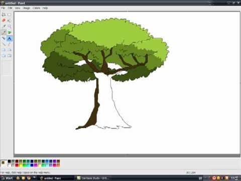 วาดรูปต้นไม้ โปรแกรมpaint