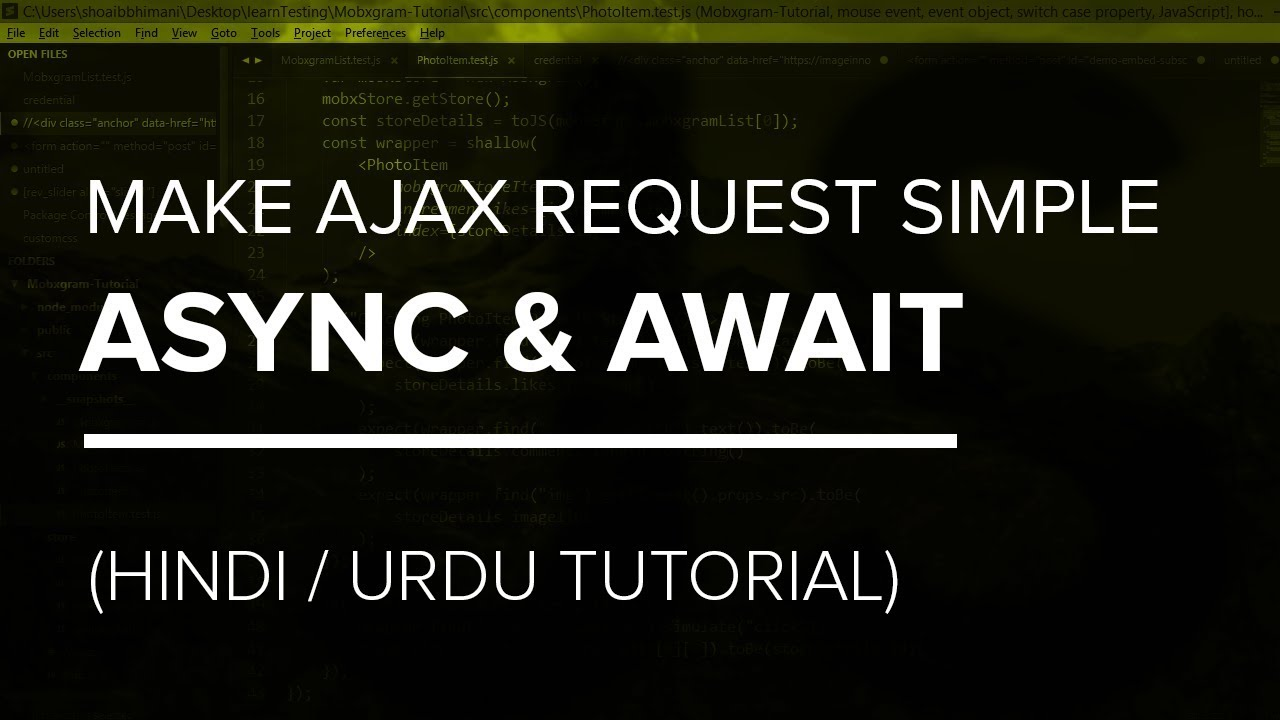 Make AJAX Request Simple with ES6 Async and Await   Hindi / Urdu Tutorial