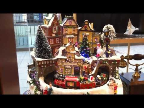Beautiful Fiber Optic Christmas Village Scene with Moving Santa Train