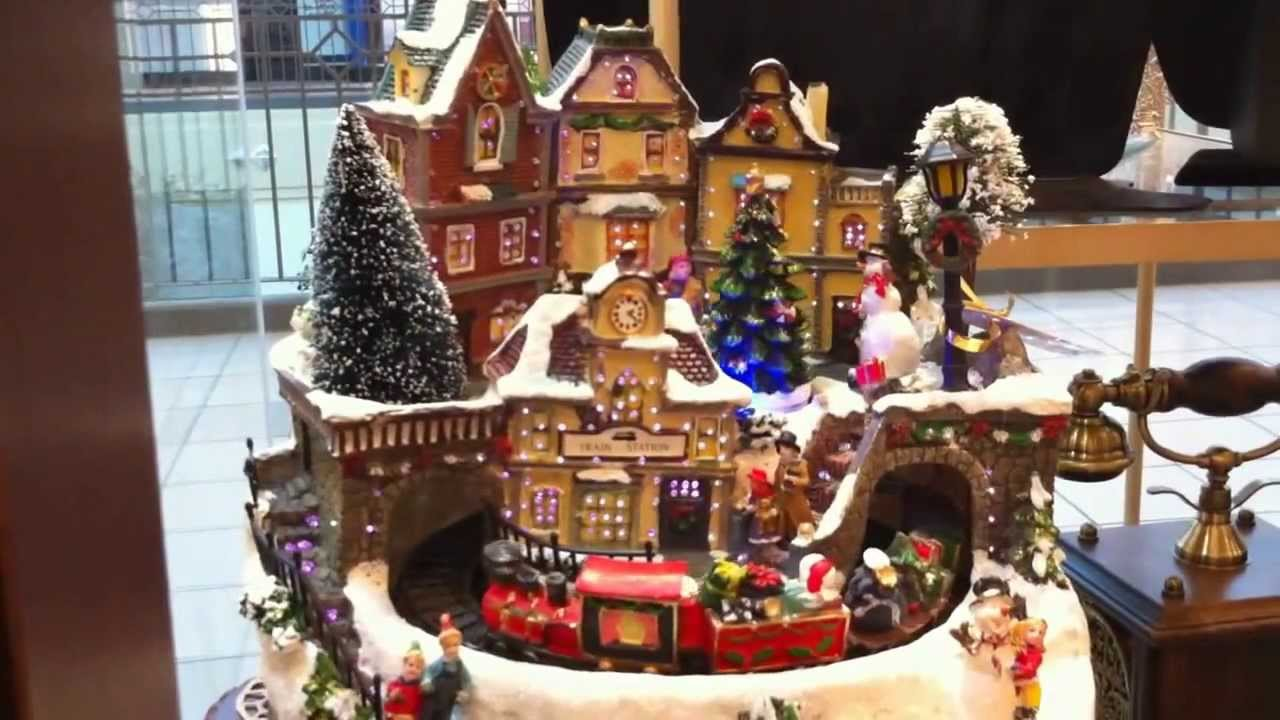 beautiful fiber optic christmas village scene with moving santa train - Miniature Christmas Town Decorations