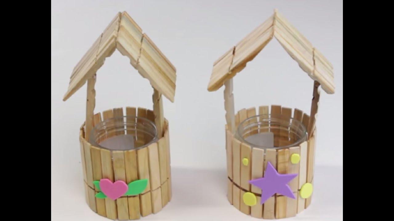 C mo hacer casita con pinzas de madera youtube - Manualidades con madera faciles ...