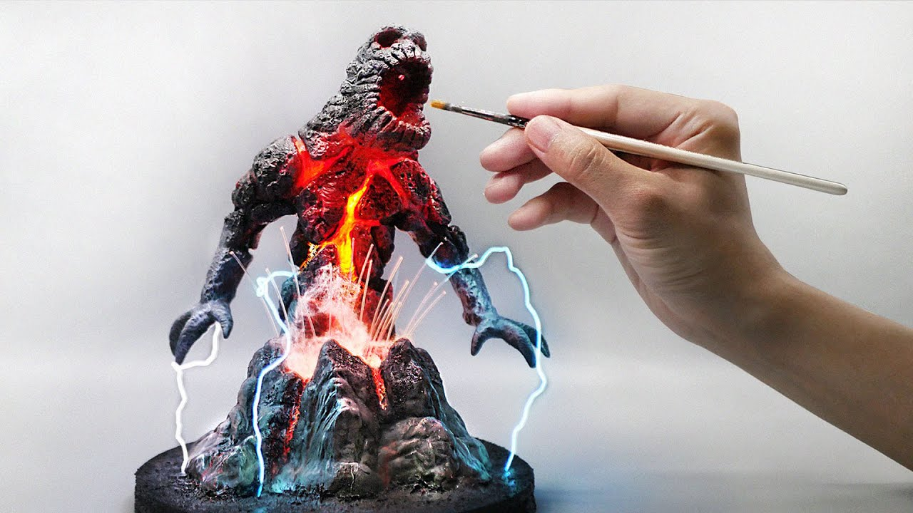 How To Make a Volcano Titan and Lightning Diorama / Polymer Clay / Epoxy resin