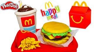 Play Doh Макдональдс щасливий їжа, блиск гамбургер і хот-доги і Веселка піца з сиром