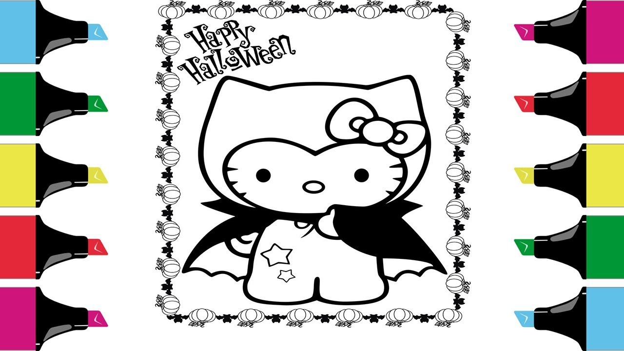 Hello Kitty Halloween Coloring Pages Coloring Book For Kids Youtube