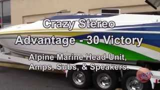 Super Clean Install of Alpine Marine Audio Sound System on Advantage 30 Victory Boat