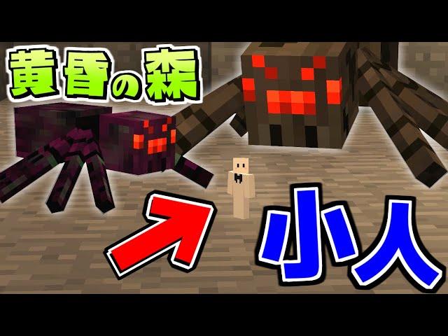 【マイクラ】小人になって黄昏の森を生き抜く! #2 クモに襲われてヤバすぎる【マインクラフト】