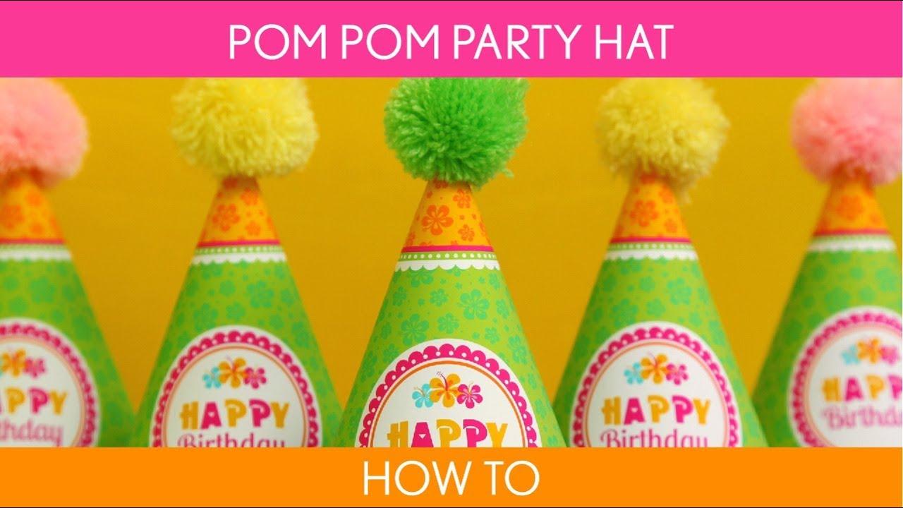 How to make Pom pom party hat ( Birthday Party ) // Hawaiian