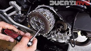 How to Replace a Wet Clutch on a Motorcycle + Oil Change - Ducati Monster