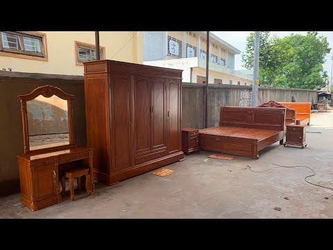 Tủ áo + giường ngủ + bàn phấn + táp đầu giường gỗ gõ  0944490000 0983735596