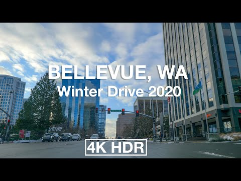 Driving Downtown - Bellevue 4K UHD HDR - Seattle USA - Snowy Sunset January 2020