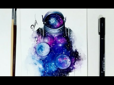 Speed Drawing - ASTRONAUT WATERCOLOR【Speedpaint】