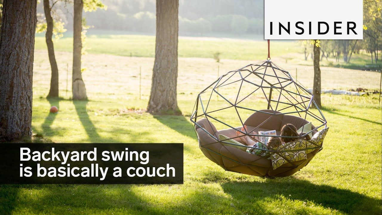 Backyard swing is basically a couch - YouTube