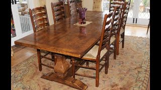 English Refectory Farmhouse Table & Set Ladderback Chairs Set In Oak