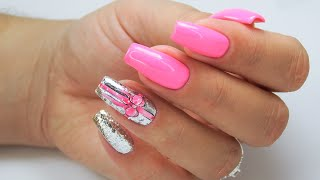 Pink bow and Silver flakes nails art tutorial / FunLac