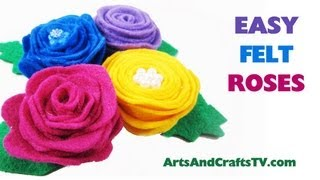 How to make felt roses and flowers using spiral patterns 2 styles - EP