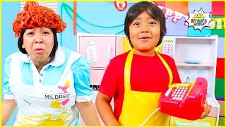 Ryan cook with kitchen and clean pretend play fun!!!