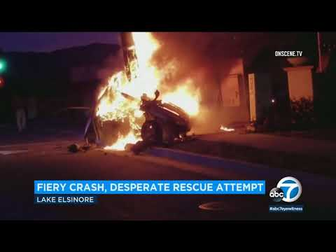 VIDEO: Good Samaritans rush to aid victim in deadly Lake Elsinore crash I ABC7