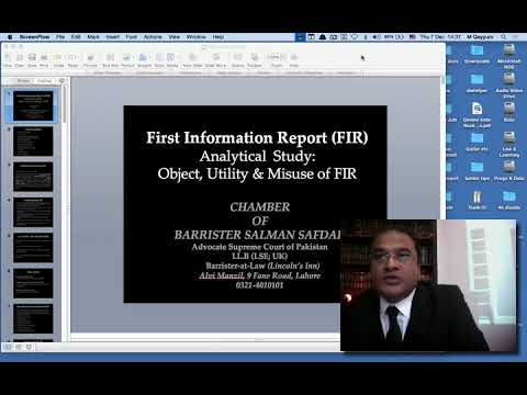 LBA Lecture: Law of FIR by Barrister Salman Safdar ASC