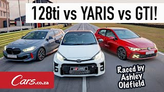 Track Race! GR Yaris vs Golf 8 GTI vs BMW 128ti in a hot-lap shootout