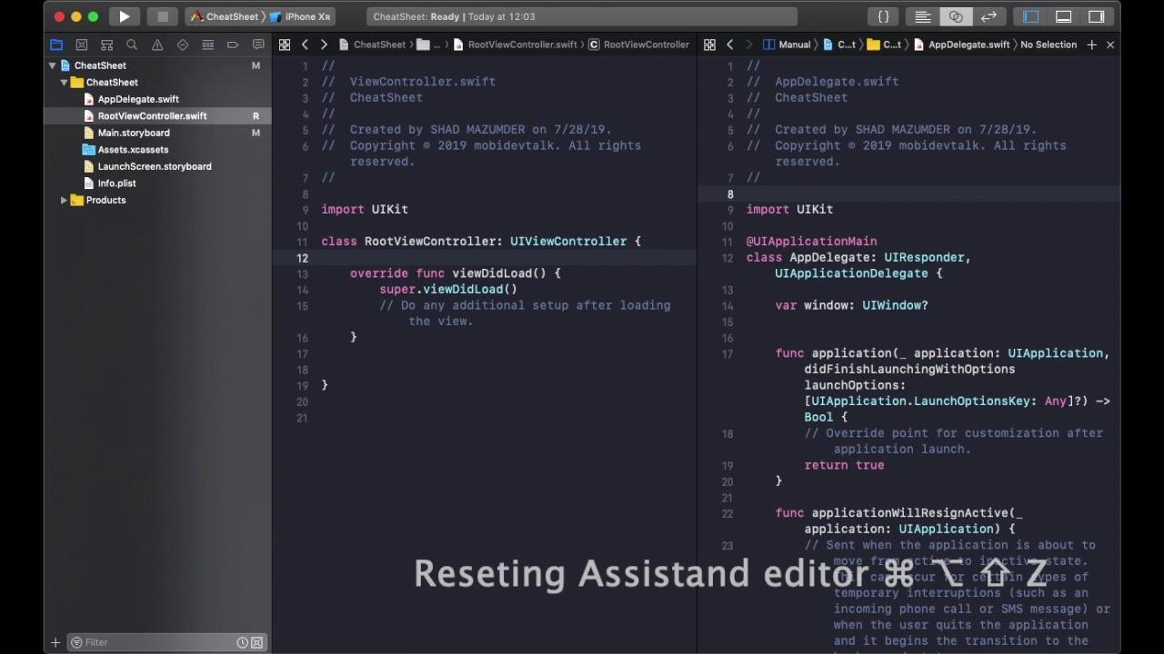 Xcode Shortcuts the iOS Cheat Sheet | mobidevtalk, one step