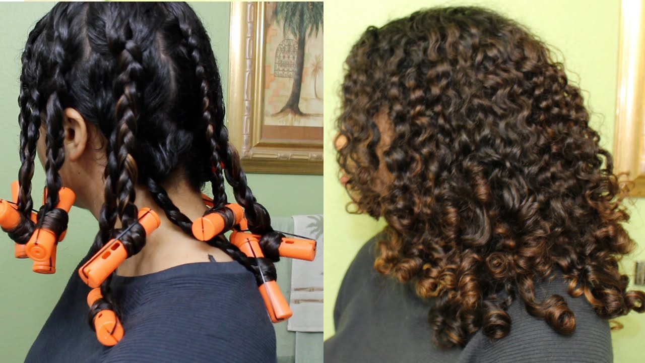 Bouncy Curls With Braids Perm Rods Natural Curly Hair Youtube