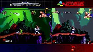 Earthworm Jim | Mega Drive/Genesis & SNES | Comparison - Dual Longplay