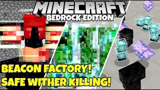 Minecraft Bedrock: (BROKEN) Simplest Beacon Factory! SAFE Auto Wither Killing! Tutorial MCPE Xbox PC