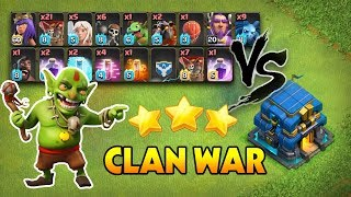 Clan War - Clear 3 sao bằng combo lính bay - Nát Hall 12 - Clash of clans