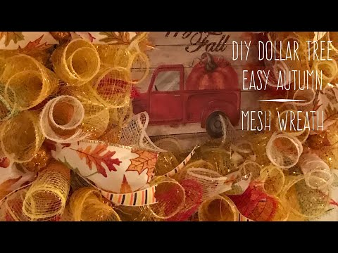 DIY Dollar Tree Easy Autumn Mesh Wreath